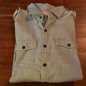 Brooks Brothers XL, navy stripe button down shirt